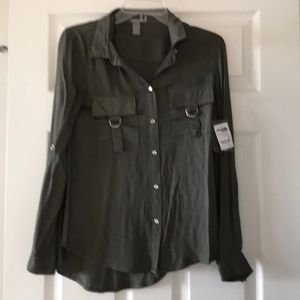 MWT CR Olive Green Button Down Shirt with Silver